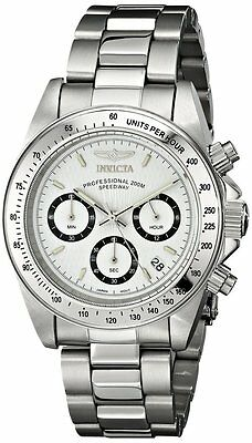 Invicta Mens Chronograph Speedway White Dial Stainless Steel Band Watch 9211