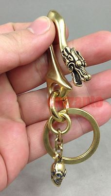Vintage Dragon Fob Solid Brass Wallet Chain key ring Belt hook Skull Pendant
