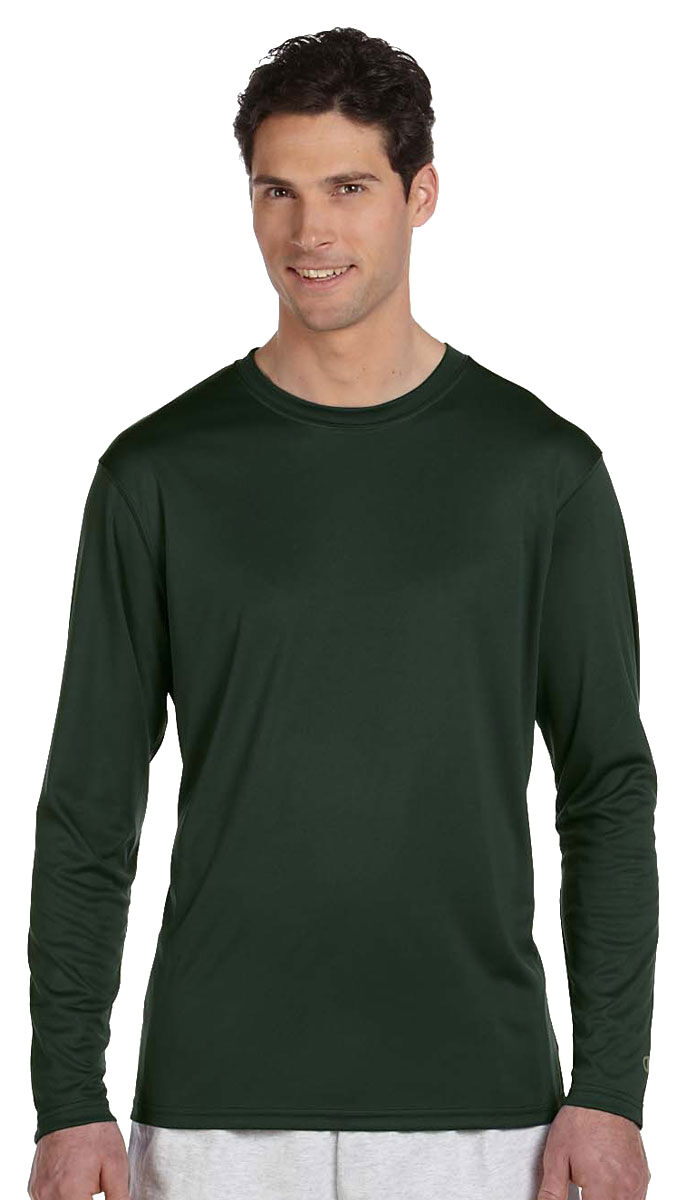 9c907cedd7dd Champion Men s Double Dry Moisture Wicking Long Sleeve Performance T-Shirt.  CW26