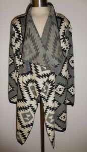 Sisters Black Ivory Aztec Indian Print Long Cardigan Sweater S/M New