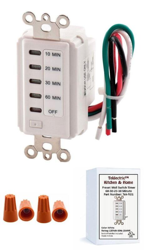 Details about Bathroom Fan Auto Shut Off 60-30-20-10 Minute Preset  Countdown Wall Switch Timer