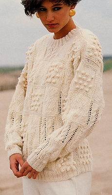 """Ladies Patchwork Cable &  Bobble Sweater DK  32"""" - 42"""" Knitting Pattern"""