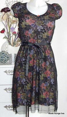 l S 36 black chiffon dress Spitze Blumen Flower schwarz (Spitze Flowergirl Kleider)