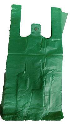 100 Green Plastic T-shirt Retail Shopping Grocery Bags Handles Small 6x3x13