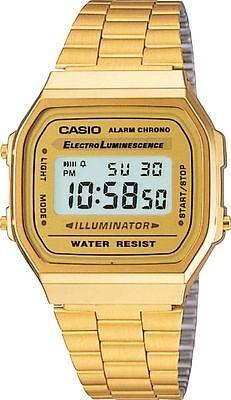 Casio Gold A168WG-9 Digital Alarm Unisex Watch A168 / A168WG Eliminator Light