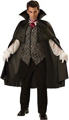 Mitternacht Vampir Kostüm (Herren Mitternachts Vampir Graf Dracula Halloween Kostüm Kleid Outfit M-3XL)