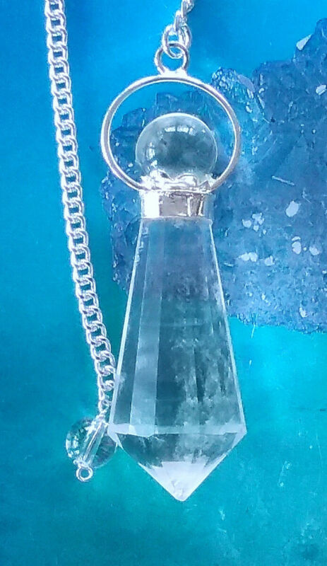 RARE 12 SIDED TIBETAN DOUBLE CRYSTAL HERKIMER DIAMOND  DOWSING PENDULUM & POUCH