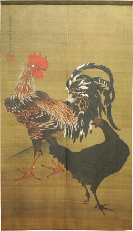 Noren Japanese Hanging door curtain Tapestry Rooster and hen motif Jakuchu Japan