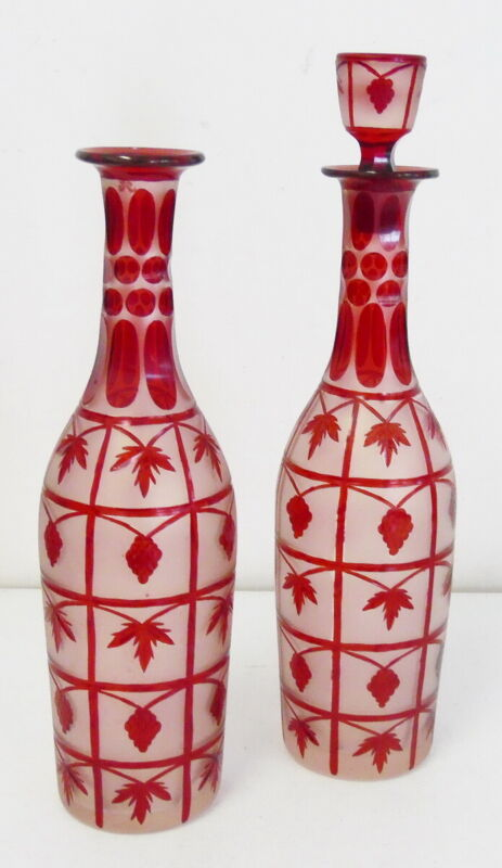 Antique Pair of Ruby Red Flash Cut to Clear Glass Bottles Grape Leaf Pattern