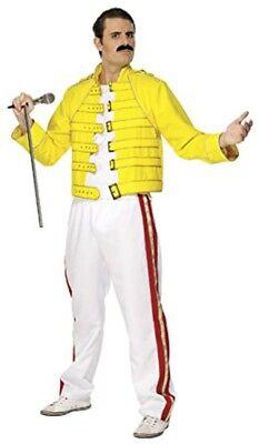 Freddie Mercury Wembley Stadium Queen Costume Jacket Pants Yellow Concert White