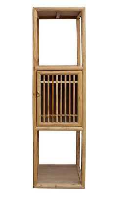 (Chinese Raw Wood Slim Narrow Tall Open Display Storage Corner Cabinet cs2250)