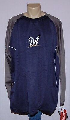 Majestic Milwaukee Brewers Therma Base Tech Fleece Long Sleeve Pullover 4XL - Fleece Milwaukee Brewers Pullover