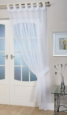 Tab-top-panel (Voile Curtain Tab Top Panel Choice of colours & sizes)