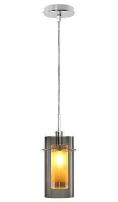 Vintage Smoked Glass Shade Hanging Pendant Ceiling Home Pub Diner Light M0116