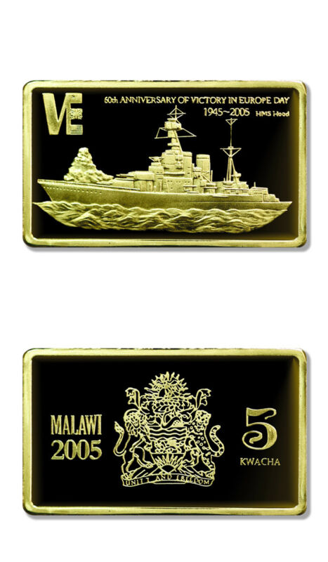 Malawi 60th Anniversary of VE Day HMS Hood 5 Kwacha 2005 Gilded Proof Crown