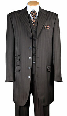 Men's Fashion Striped Zoot Suit With Vest And Pants 37
