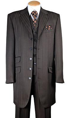 Fashion Zoot Suit (Men's Fashion Striped Zoot Suit With Vest And Pants 37