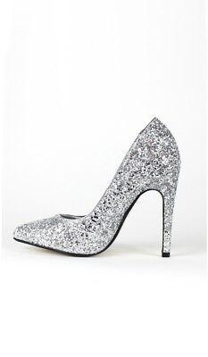 Glitter Party Schuhe Pumps Absatzschuhe High Hells festlich Glitzer silber Glitter Party Schuhe