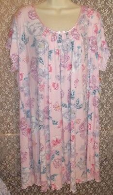 2X MISS ELAINE Short Sleeve Nightgown Knee Length Pink w/Floral Butterfly NWT ()