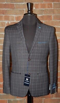 42 R NEW MENS SLIM FIT HENRY UOMO CHARCOAL GREY PLAID  2 PC SUIT