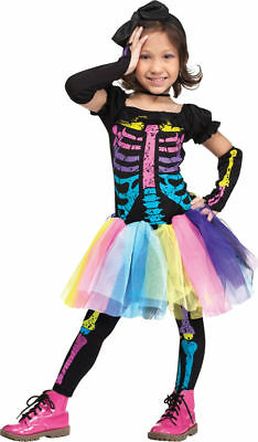 Morris Costumes Girls Cutes Colorful Skeleton Toddler Costume 24M-2T. FW112591TS