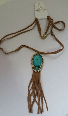 Fringe Style Brown Tan faux Suede cord Gold Green Turquoise Bead pendant X4-5/22 - Faux Suede Pendant