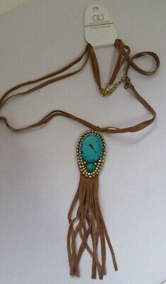Fringe Style Brown Tan faux Suede cord Gold Green Turquoise Bead pendant X4-5/22 (Cord Green Pendant)