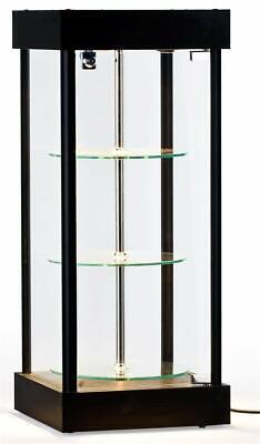 Spinning Glass Display Case W Halogen Top Lights 14-14w X 34h X 14-14d
