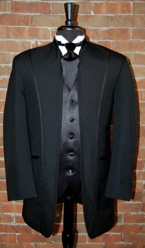 Mens 42 R Black Illusion by Calvin Michaels Mandarin Neru Collar Tuxedo Jacket