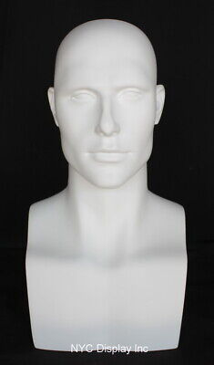 New 19 In H Matt White Male Mannequin Head Bust Form Display Mannequin Head Mh7w