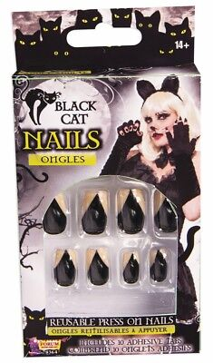 12 Black Cat Fake Press on Nails Pointy Style Animal Womens Costume Accessory - Halloween Cat Costume Nails