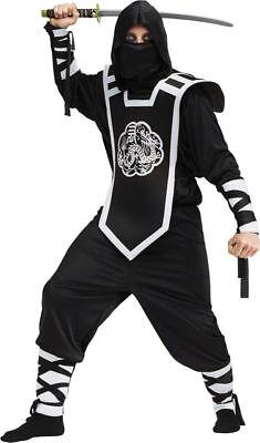 Morris Costume Men's Dragon Ninja Halloween Complete Outfit Black One Size. OSFA