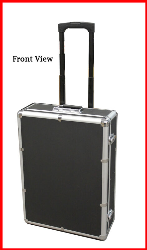 1000 CD DVD Rolling Aluminum Storage Case Carrying Box Black W Removable Trolley