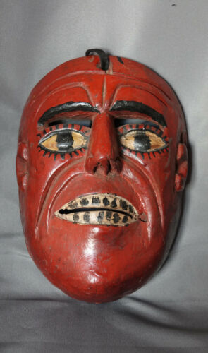 Antique Vintage Guatemalan Woodcarving Indio Dance Mask from Baja Verapaz