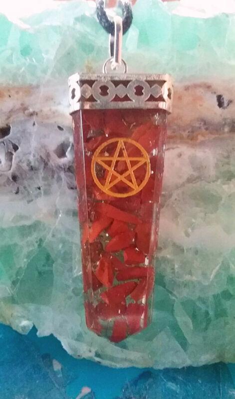 ORGONE RED JASPER CRYSTAL GOLD ENGRAVED PENTAGRAM PENDANT WITH HEMP CHAIN, PAGAN