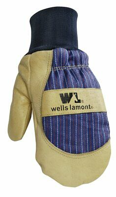 Mens Winter Mittens With Leather Palm Thinsulate Insulation Sewn-in Glove