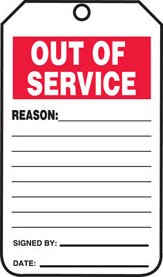 - Status Tag, OUT OF SERVICE, PF-Cardstock, 25/PK  25 PK