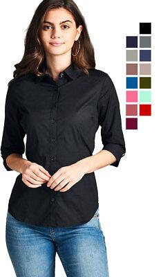Women's Classic 3/4 Sleeve Stretch Button Down Collar Dress Work Shirt Blouse