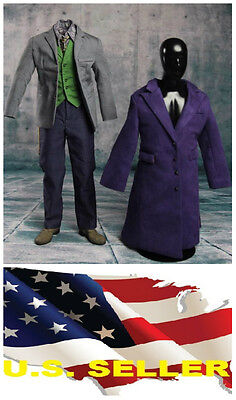 1/6 Joker Heath Ledger Costume Suit 3.0 Batman for DX01 DX11 Hot Toys set ❶USA❶ - Batman Costume For Children