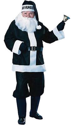 Morris Costume Men's Long Sleeve Holiday Santa Suit Black White Standard. - Black Santa Suit