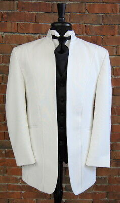 Mens 46 S White Illusion by Calvin Michaels Mandarin Neru Collar Tuxedo Jacket