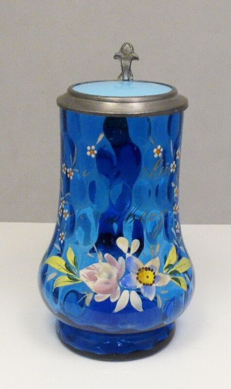 Antique Cobalt Blue Mary Gregory Lidded Glass Beer Stein Greetings From Annaberg