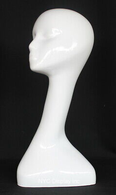 18 In H Female Mannequin Head Bust Form Display Mannequin Glossy White Mh51-gw
