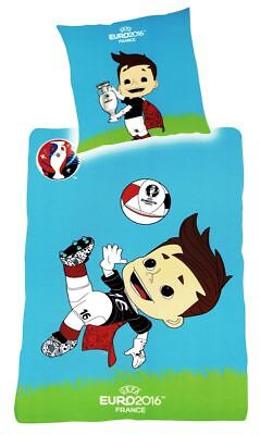 Fußball Kinder Renforcé Bettwäsche 135x200cm 2 tlg. Junge Maskottchen Baumwolle