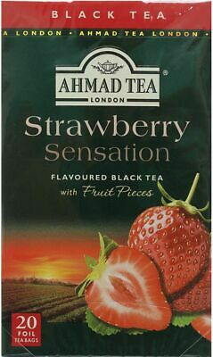 AHMAD TEA Strawberry Sensation Black Tea 20 Tea Bags with Fruit Pieces