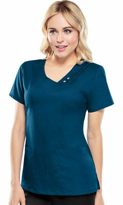 Cherokee Women's New Front Curved Patch Pockets V Neck Pin Tuck Scrub Top. -