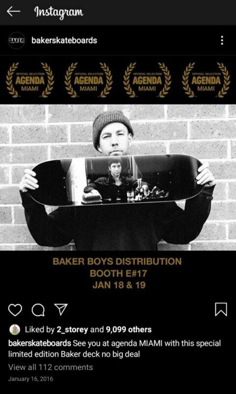 Baker Skateboard X Agenda Miami 8.25 Rare  limited  Andrew Reynolds 2016 shrink