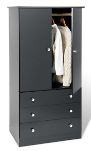 3-Drawer-Wardrobe-Dresser-Chest-Armoire-Black-NEW