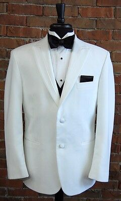MENS 40 R  WHITE SLIM FIT DINNER JACKET  TUXEDO RIO by PERRY ELLIS