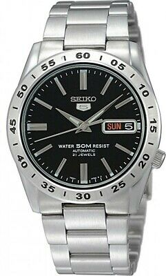 Seiko 5 SNKE01 Automatic Day-Date Black Dial Stainless Steel Mens Watch SNKE01K1